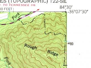 Reduced fragment of topographic map en--usgs--024k--006906--(1952)--N036-07-30_W084-37-30--N036-00-00_W084-30-00; towns and cities Wartburg