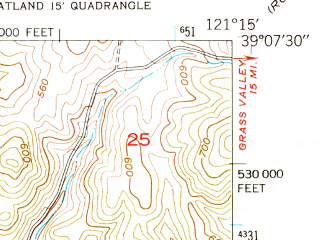 Reduced fragment of topographic map en--usgs--024k--006921--(1949)--N039-07-30_W121-22-30--N039-00-00_W121-15-00 in area of Camp Far West Reservoir; towns and cities Beale Afb