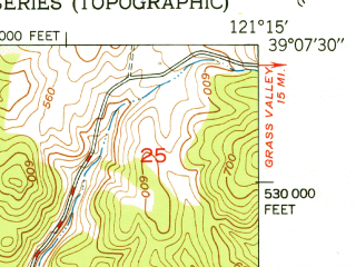 Reduced fragment of topographic map en--usgs--024k--006921--(1951)--N039-07-30_W121-22-30--N039-00-00_W121-15-00 in area of Camp Far West Reservoir; towns and cities Beale Afb