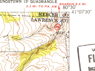 Reduced fragment of topographic map en--usgs--024k--006946--(1951)--N041-07-30_W080-37-30--N041-00-00_W080-30-00; towns and cities Campbell, Struthers, Lowellville, Poland
