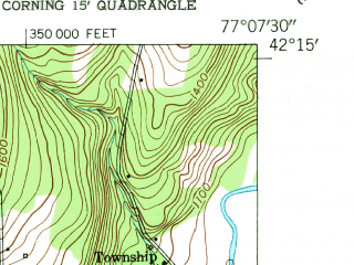 Reduced fragment of topographic map en--usgs--024k--006948--(1953)--N042-15-00_W077-15-00--N042-07-30_W077-07-30; towns and cities Gang Mills