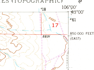 Reduced fragment of topographic map en--usgs--024k--006956--(1949)--N043-00-00_W106-07-30--N042-52-30_W106-00-00