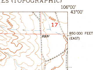 Reduced fragment of topographic map en--usgs--024k--006956--(1950)--N043-00-00_W106-07-30--N042-52-30_W106-00-00