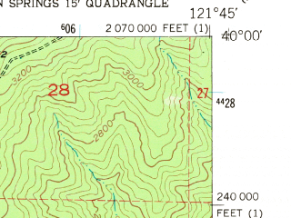 Reduced fragment of topographic map en--usgs--024k--006959--(1952)--N040-00-00_W121-52-30--N039-52-30_W121-45-00