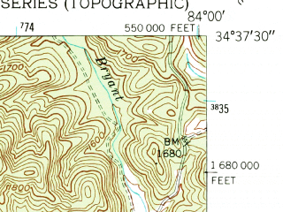 Reduced fragment of topographic map en--usgs--024k--006960--(1950)--N034-37-30_W084-07-30--N034-30-00_W084-00-00