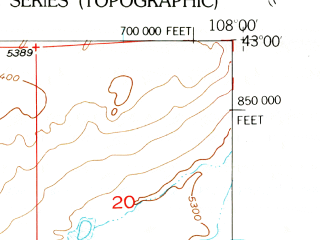 Reduced fragment of topographic map en--usgs--024k--006963--(1953)--N043-00-00_W108-07-30--N042-52-30_W108-00-00