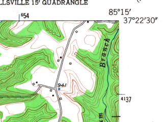 Reduced fragment of topographic map en--usgs--024k--006969--(1953)--N037-22-30_W085-22-30--N037-15-00_W085-15-00; towns and cities Campbellsville