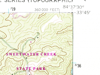 Reduced fragment of topographic map en--usgs--024k--006970--(1954)--N033-45-00_W084-45-00--N033-37-30_W084-37-30; towns and cities Douglasville