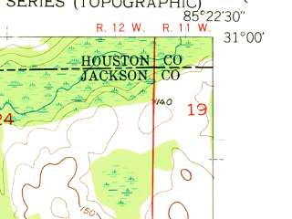 Reduced fragment of topographic map en--usgs--024k--006971--(1952)--N031-00-00_W085-30-00--N030-52-30_W085-22-30; towns and cities Campbellton, Jacob City