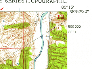 Reduced fragment of topographic map en--usgs--024k--006990--(1956)--N038-52-30_W085-22-30--N038-45-00_W085-15-00