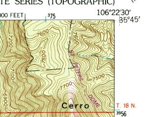 Reduced fragment of topographic map en--usgs--024k--006995--(1953)--N035-45-00_W106-30-00--N035-37-30_W106-22-30