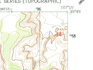 Reduced fragment of topographic map en--usgs--024k--006996--(1961)--N035-45-00_W107-22-30--N035-37-30_W107-15-00