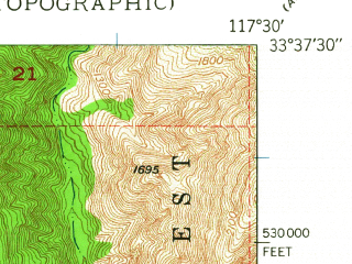 Reduced fragment of topographic map en--usgs--024k--006999--(1948)--N033-37-30_W117-37-30--N033-30-00_W117-30-00; towns and cities Trabuco Highlands, Coto De Caza