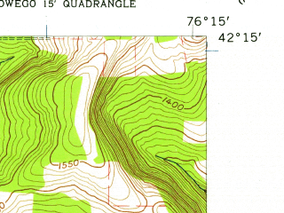 Reduced fragment of topographic map en--usgs--024k--007033--(1956)--N042-15-00_W076-22-30--N042-07-30_W076-15-00; towns and cities Candor