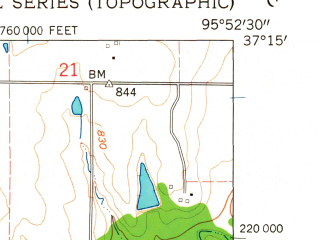 Reduced fragment of topographic map en--usgs--024k--007050--(1962)--N037-15-00_W096-00-00--N037-07-30_W095-52-30
