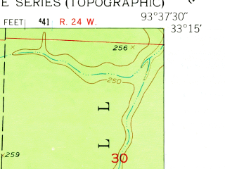 Reduced fragment of topographic map en--usgs--024k--007053--(1952)--N033-15-00_W093-45-00--N033-07-30_W093-37-30