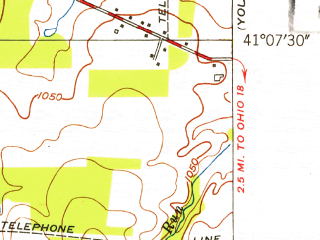 Reduced fragment of topographic map en--usgs--024k--007054--(1952)--N041-07-30_W080-52-30--N041-00-00_W080-45-00; towns and cities Canfield
