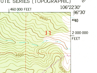 Reduced fragment of topographic map en--usgs--024k--007057--(1953)--N036-30-00_W106-30-00--N036-22-30_W106-22-30