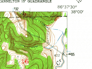 Reduced fragment of topographic map en--usgs--024k--007063--(1953)--N038-00-00_W086-45-00--N037-52-30_W086-37-30; towns and cities Cannelton