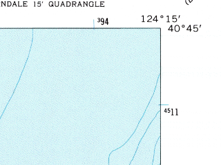 Reduced fragment of topographic map en--usgs--024k--007064--(1959)--N040-45-00_W124-22-30--N040-37-30_W124-15-00 in area of North Bay