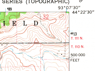Reduced fragment of topographic map en--usgs--024k--007072--(1960)--N044-22-30_W093-15-00--N044-15-00_W093-07-30