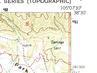 Reduced fragment of topographic map en--usgs--024k--007086--(1959)--N038-30-00_W105-15-00--N038-22-30_W105-07-30; towns and cities Canon City, Brookside, Lincoln Park, Prospect Heights