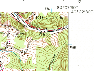 Reduced fragment of topographic map en--usgs--024k--007095--(1960)--N040-22-30_W080-15-00--N040-15-00_W080-07-30; towns and cities Canonsburg, Cecil-bishop, Mcdonald