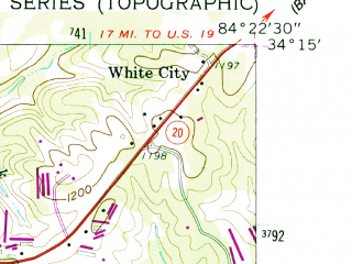 Reduced fragment of topographic map en--usgs--024k--007104--(1961)--N034-15-00_W084-30-00--N034-07-30_W084-22-30; towns and cities Canton, Holly Springs