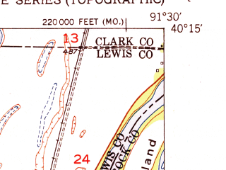Reduced fragment of topographic map en--usgs--024k--007106--(1951)--N040-15-00_W091-37-30--N040-07-30_W091-30-00; towns and cities Canton