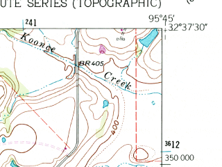 Reduced fragment of topographic map en--usgs--024k--007109--(1962)--N032-37-30_W095-52-30--N032-30-00_W095-45-00; towns and cities Canton