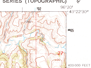 Reduced fragment of topographic map en--usgs--024k--007112--(1962)--N043-22-30_W096-37-30--N043-15-00_W096-30-00; towns and cities Canton