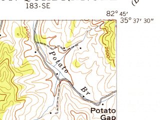 Reduced fragment of topographic map en--usgs--024k--007116--(1941)--N035-37-30_W082-52-30--N035-30-00_W082-45-00; towns and cities Canton, West Canton