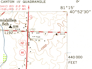 Reduced fragment of topographic map en--usgs--024k--007118--(1958)--N040-52-30_W081-22-30--N040-45-00_W081-15-00; towns and cities Canton, Louisville, East Canton