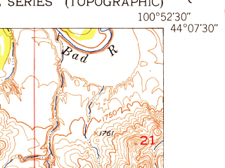 Reduced fragment of topographic map en--usgs--024k--007153--(1951)--N044-07-30_W101-00-00--N044-00-00_W100-52-30