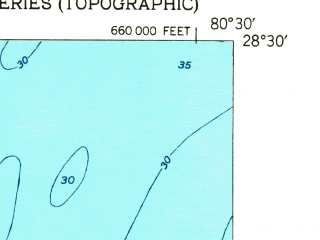 Reduced fragment of topographic map en--usgs--024k--007159--(1951)--N028-30-00_W080-37-30--N028-22-30_W080-30-00; towns and cities Cape Canaveral