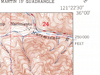Reduced fragment of topographic map en--usgs--024k--007182--(1949)--N036-00-00_W121-30-00--N035-52-30_W121-22-30