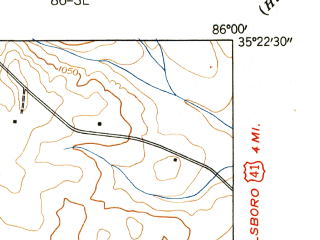 Reduced fragment of topographic map en--usgs--024k--007199--(1941)--N035-22-30_W086-07-30--N035-15-00_W086-00-00