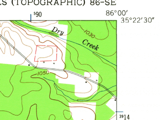 Reduced fragment of topographic map en--usgs--024k--007199--(1962)--N035-22-30_W086-07-30--N035-15-00_W086-00-00