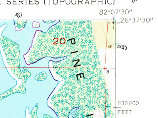 Reduced fragment of topographic map en--usgs--024k--007227--(1958)--N026-37-30_W082-15-00--N026-30-00_W082-07-30
