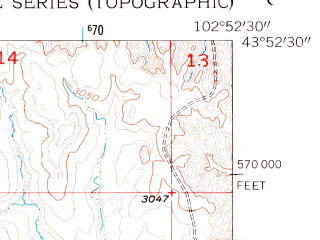 Reduced fragment of topographic map en--usgs--024k--007232--(1953)--N043-52-30_W103-00-00--N043-45-00_W102-52-30