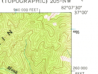 Reduced fragment of topographic map en--usgs--024k--007241--(1958)--N037-00-00_W082-15-00--N036-52-30_W082-07-30; towns and cities Cleveland