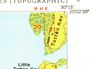 Reduced fragment of topographic map en--usgs--024k--007255--(1949)--N025-22-30_W080-22-30--N025-15-00_W080-15-00; towns and cities North Key Largo