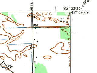 Reduced fragment of topographic map en--usgs--024k--007281--(1942)--N042-07-30_W083-30-00--N042-00-00_W083-22-30; towns and cities Carleton