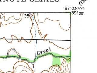 Reduced fragment of topographic map en--usgs--024k--007288--(1943)--N039-00-00_W087-30-00--N038-52-30_W087-22-30; towns and cities Carlisle
