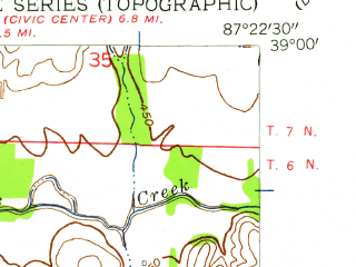 Reduced fragment of topographic map en--usgs--024k--007288--(1957)--N039-00-00_W087-30-00--N038-52-30_W087-22-30; towns and cities Carlisle