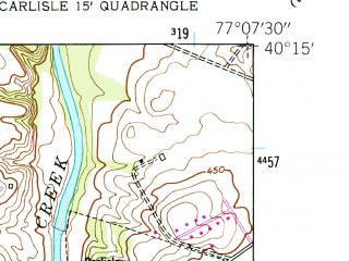 Reduced fragment of topographic map en--usgs--024k--007293--(1952)--N040-15-00_W077-15-00--N040-07-30_W077-07-30; towns and cities Carlisle, Boiling Springs, Schlusser