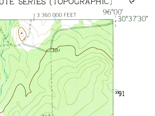 Reduced fragment of topographic map en--usgs--024k--007300--(1960)--N030-37-30_W096-07-30--N030-30-00_W096-00-00