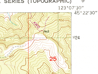 Reduced fragment of topographic map en--usgs--024k--007313--(1957)--N045-22-30_W123-15-00--N045-15-00_W123-07-30; towns and cities Carlton, Yamhill