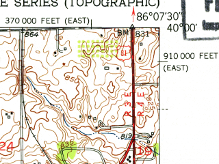 Reduced fragment of topographic map en--usgs--024k--007318--(1952)--N040-00-00_W086-15-00--N039-52-30_W086-07-30; towns and cities Meridian Hills, Williams Creek