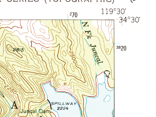 Reduced fragment of topographic map en--usgs--024k--007361--(1952)--N034-30-00_W119-37-30--N034-22-30_W119-30-00; towns and cities Carpinteria